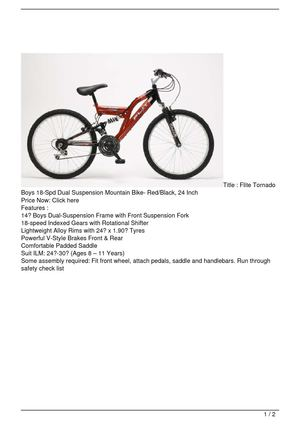 Flite Tornado Boys 18-Spd Dual Suspension Mountain Bike- Red/Black, 24 Inch Get Rabate