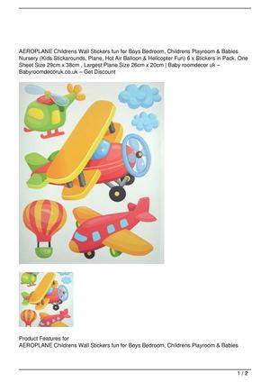 AEROPLANE Childrens Wall Stickers fun for Boys Bedroom, Childrens Playroom & Babies Nursery (Kids Stickarounds, Plane, Hot Air Balloon & Helicopter Fun) 6 x Stickers in Pack, One Sheet Size 29cm x 38cm , Largest Plane Size 26cm x 20cm SALE