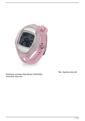 Sportline Solo 925 Pedometer and Heart Rate Monitor (SP5705SL) On Sale
