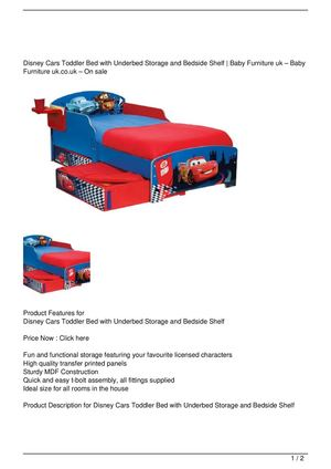 Disney Cars Toddler Bed with Underbed Storage and Bedside Shelf Big SALE