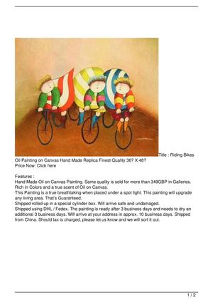 Riding Bikes Oil Painting on Canvas Hand Made Replica Finest Quality 36″ X 48″ Discount !!