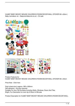 HL6857 BABY MICKEY MOUSE CHILDREN'S ROOM DECOR WALL STICKER 90 x 60cm SALE