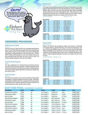 Elmhurst Park District Swim Lesson Supplement