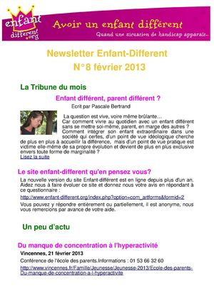 Newsletter enfant-different fevrier 2013