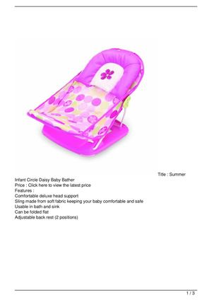Summer Infant Circle Daisy Baby Bather Promo Offer