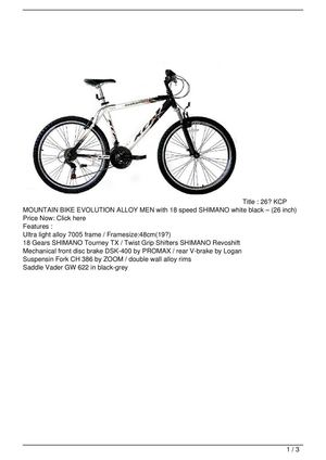 Calaméo - 26″ KCP MOUNTAIN BIKE EVOLUTION ALLOY MEN with 18 ...