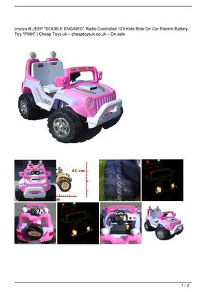 crooza ® JEEP *DOUBLE ENGINED* Radio Controlled 12V Kids Ride On Car Electric Battery Toy *PINK* Big SALE
