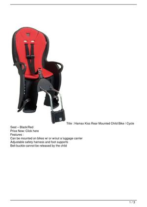 Hamax Kiss Rear Mounted Child Bike / Cycle Seat – Black/Red Get Rabate