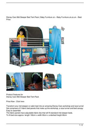 Calameo Disney Cars Mid Sleeper Bed Tent Pack Promo Offer