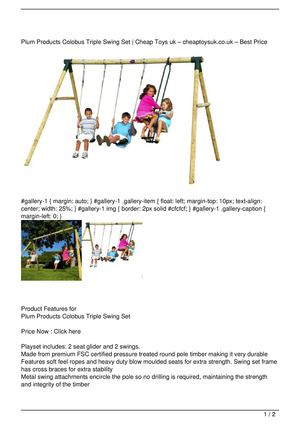 Plum Products Colobus Triple Swing Set On Sale
