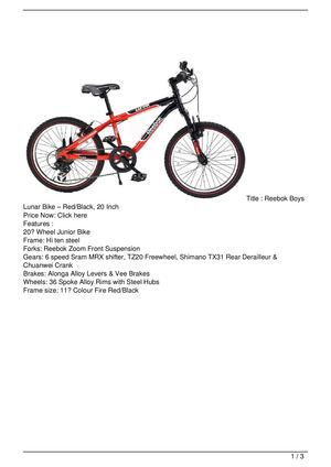 Reebok Boys Lunar Bike – Red/Black, 20 Inch Big SALE