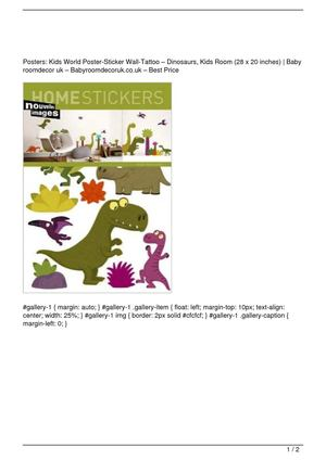 Posters: Kids World Poster-Sticker Wall-Tattoo – Dinosaurs, Kids Room (28 x 20 inches) Promo Offer