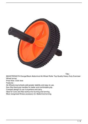 MAXSTRENGTH Orange/Black Abdominal Ab Wheel Roller Top Quality Heavy Duty Exerciser Wheel tonner Big SALE