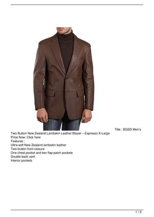 BGSD Men's Two-Button New Zealand Lambskin Leather Blazer – Espresso X-Large On Sale