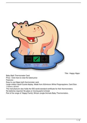 Happy Hippo Baby Bath Thermometer Card SALE