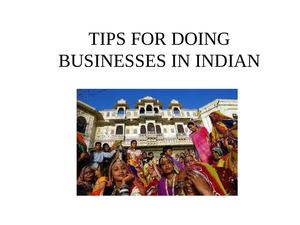 TIPS FOR DOING BUSINESSES IN INDIAN