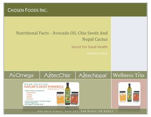 Nutritional Facts - Avocado Oil, Chia Seeds And Nopal Cactus