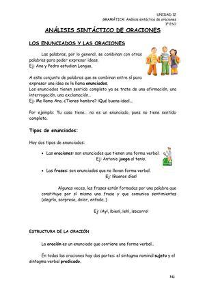 Calaméo Análisis Sintáctico De Oraciones