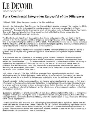 For a Continental Integration Respectful of the Differences (23 March 2005 | Gilles Duceppe - Leader of the Bloc québécois | Le Devoir)  English translation by Kathleen Moore
