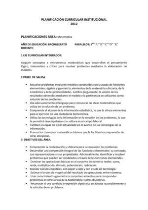 Calaméo - Planificación curricular matemática 1 año