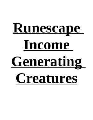 Runescape Income Generating Creatures