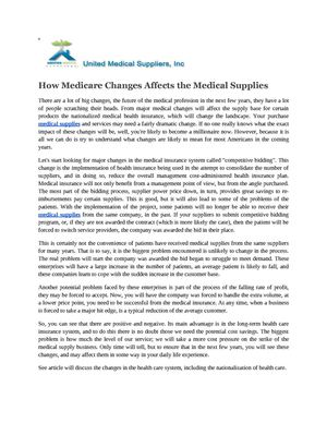 How Medicare Changes Affects the Medical Supplies