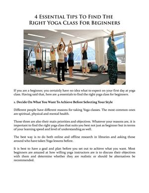 Calameo 4 Essential Tips To Find The Right Yoga Class For Beginners