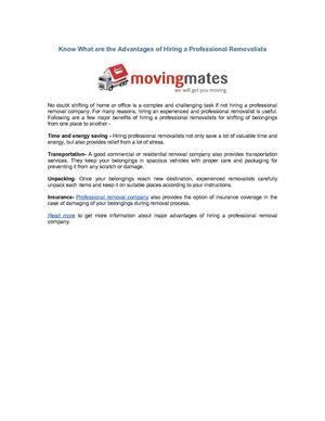 Know What are the Advantages of Hiring a Professional Removalists