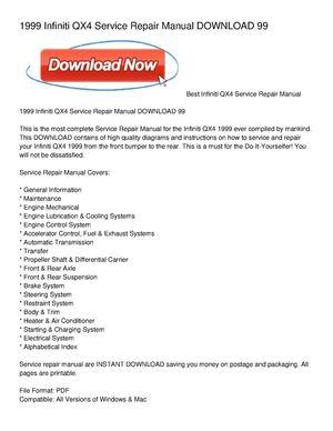 calam o 1999 infiniti qx4 service repair manual download 99 rh calameo com 1998 Infiniti QX4 Manual 1999 Infiniti QX4 Problems