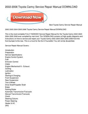 calam o 2002 2006 toyota camry service repair manual download rh calameo com Toyota Camry Manual Transmission Toyota Camry Manual PDF