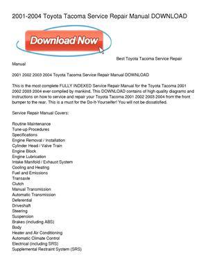 calam o 2001 2004 toyota tacoma service repair manual download rh calameo com 2004 toyota tacoma service manual 2014 toyota tacoma service manual