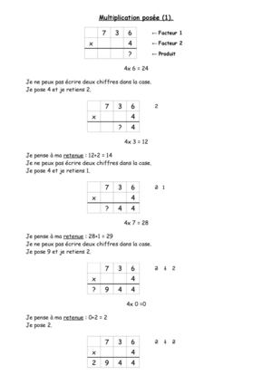 Cycle 3 : calculs : multiplication posée (cours)