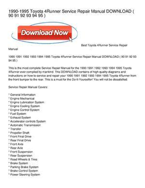 calam o 1990 1995 toyota 4runner service repair manual download rh calameo com 93 toyota 4runner owners manual 1993 toyota 4runner owners manual