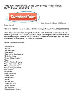 1988-1991 honda civic coupe crx service repair manual download