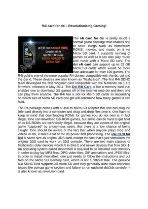 Calaméo - R4i card for dsi - Revolutionising Gaming!