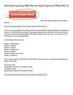 calam o 2003 buell lightning xb9s service repair manual download 03 rh calameo com buell service manuals 99-2000 thunderbolt buell xb9sx service manual
