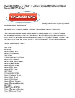 hyundai r210lc-7 (#8001-) crawler excavator service repair manual download