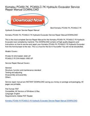 download komatsu pc450 7 pc450lc 7 service repair workshop manual