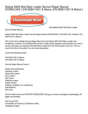 calam o bobcat s205 skid steer loader service repair manual download rh calameo com bobcat s205 manual pdf bobcat s205 manual pdf
