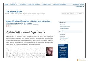 Opiate Withdrawal Symptoms and solutions