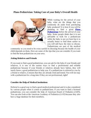 Plano Pediatrician Taking Care of your Baby's Overall Health