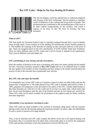 Buy UPC Codes – Helps In The Easy Dealing Of Products
