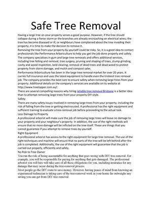 Safe Tree Removal