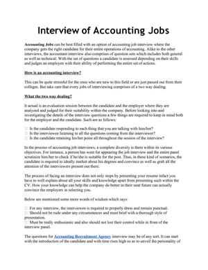 Interview of Accounting Jobs