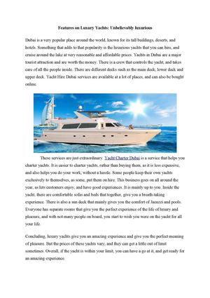 Features on Luxury Yacht