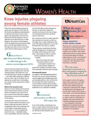 Knee Injuries and Female Athletes