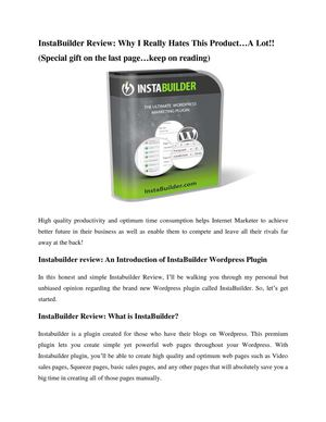 Instabuilder Review: An Honest Review for a Complete Internet Marketing Wordpress Plugin