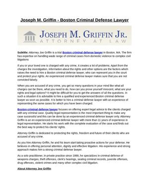 Joseph M. Griffin - Boston Criminal Defense Lawyer