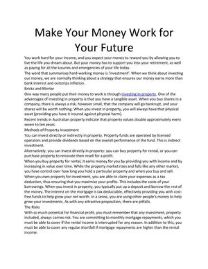 Make Your Money Work for Your Future