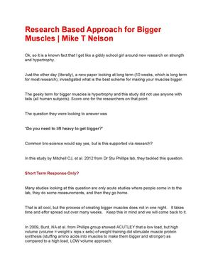 Research Based Approach For Bigger Muscles | Mike T Nelson